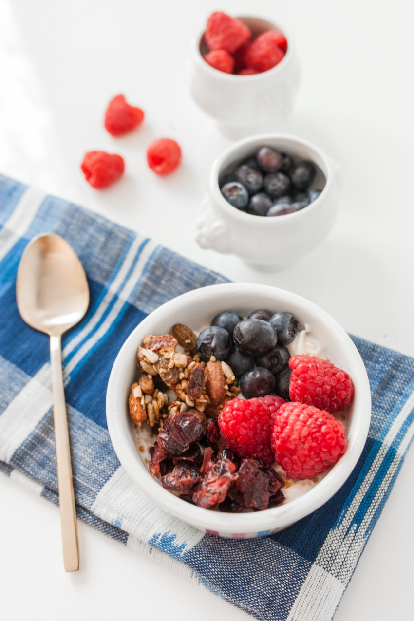 Healthy Breakfast recipe - Chia Seed Pudding, Berries, and Granola Recipe on Fashionable Hostess