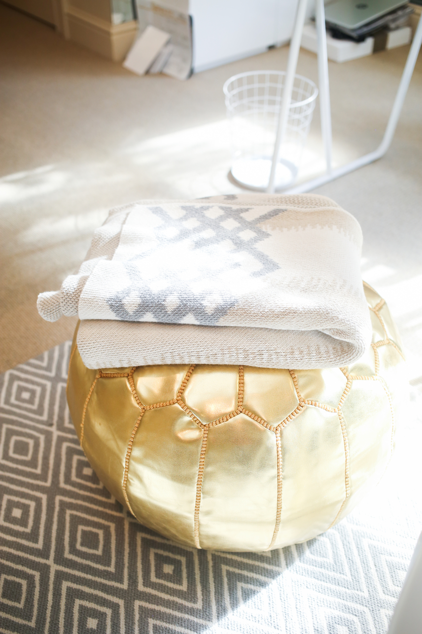 In2Green Throw on top of a Gold Rachel George Pouf in the Fashionable Hostess Office on Fashionable Hostess