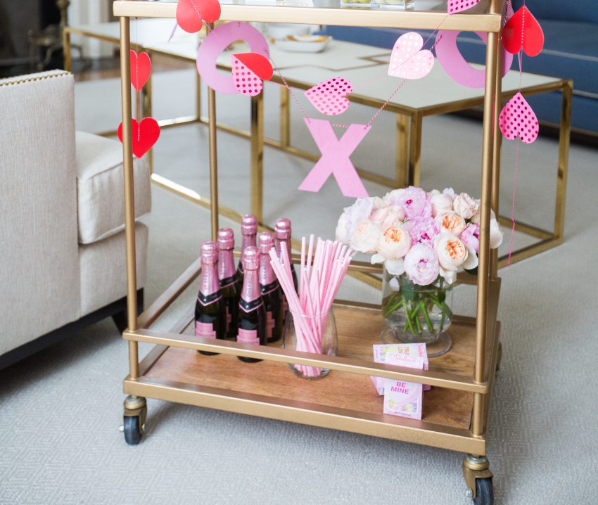 Valentine's Day Bar Cart Details + Mini Rose Champagnes + Pink striped Straws + Valentine's Day Pink Bouquet Inspirations