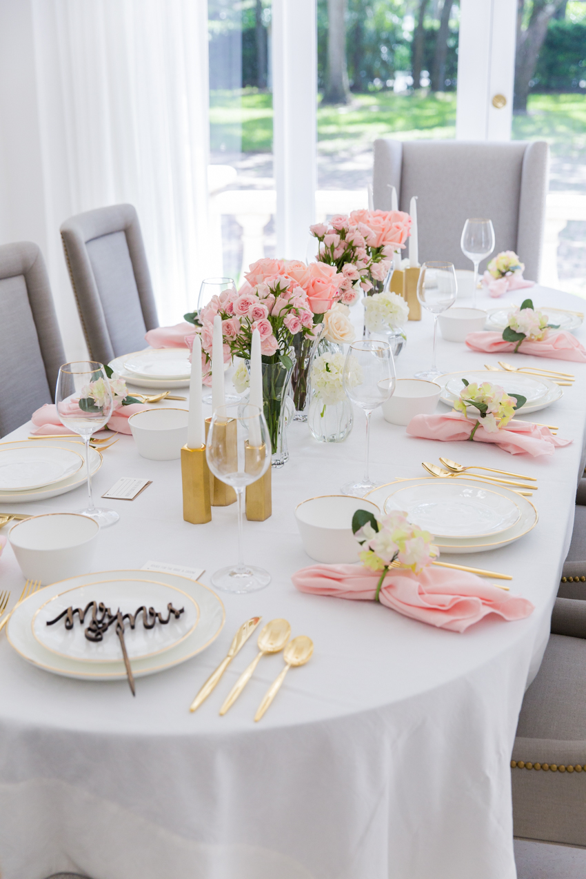 Pink Bridal Shower Tablescape - Fashionable Hostess