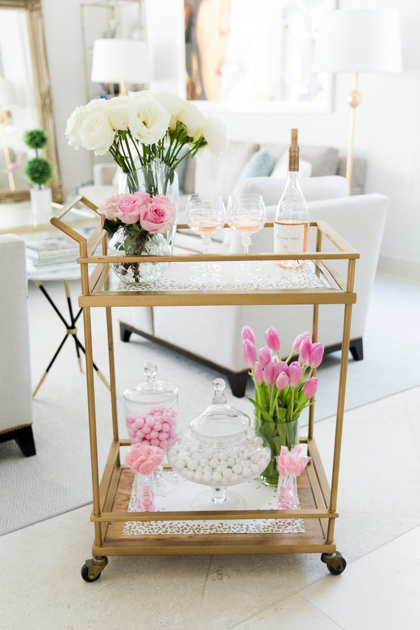 DIY your Galentine's Day Bar Cart by Fashionable Hostess - Whispering Angel, julsika, Target bar cart, Party City Pink candy, Valentines day flowers