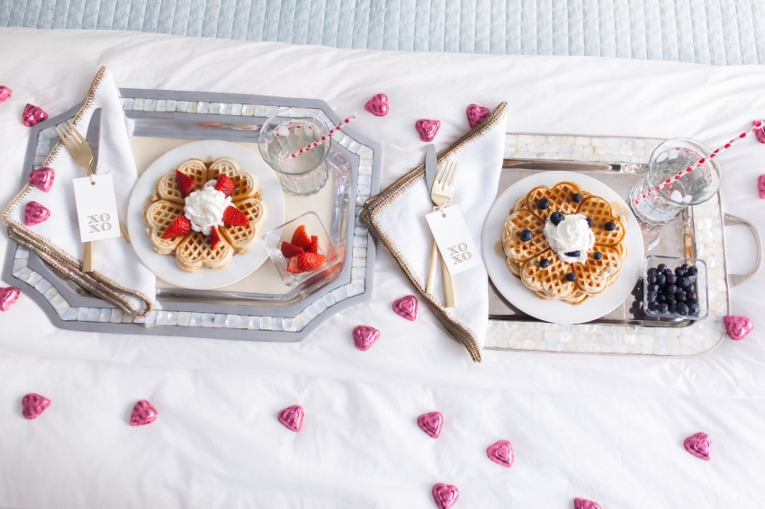 His and Hers Breakfast in Bed for Valentine's Day Breakfast by Fashionable Hostess