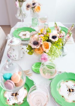 Spring Flowers + Macarons + Rose wine